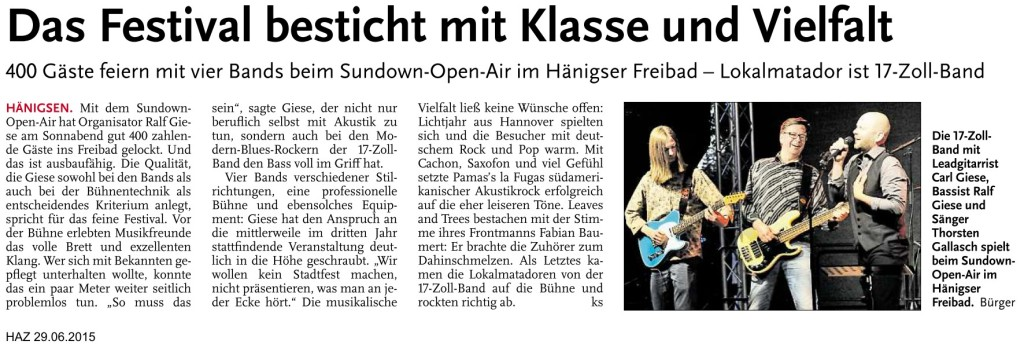 sundown Presse 2015 HAZ - KS